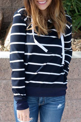 Stylish Hooded Long Sleeve Drawstring Striped Women's Hoodie Sweatshirts & Hoodies | RoseGal.com Mobile
