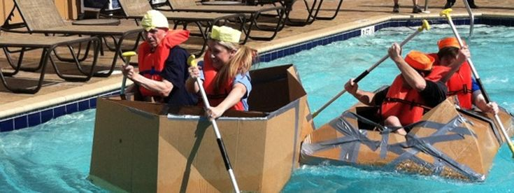 One of the funniest activities for Team Building: The Cardboard Boat Races.