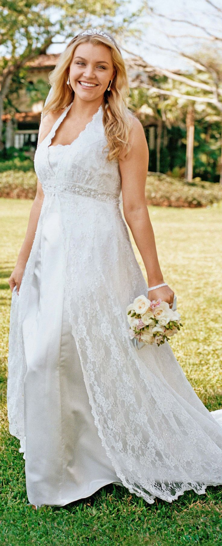 Read about plus size wedding dresses for apple shaped women with big tummies or no waistline. - dress David's Bridal - read article: http://www.boomerinas.com/2014/10/08/wedding-dresses-for-your-body-type-apple-shapes-plus-size-tummies/