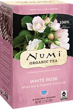 Numi Organic Tea White Rose | Our enchanted White Rose blends the smoothness of delicate, organic white tea with whole organic rose buds. This sweet and fragrant liaison is as provocative as it is healthy.