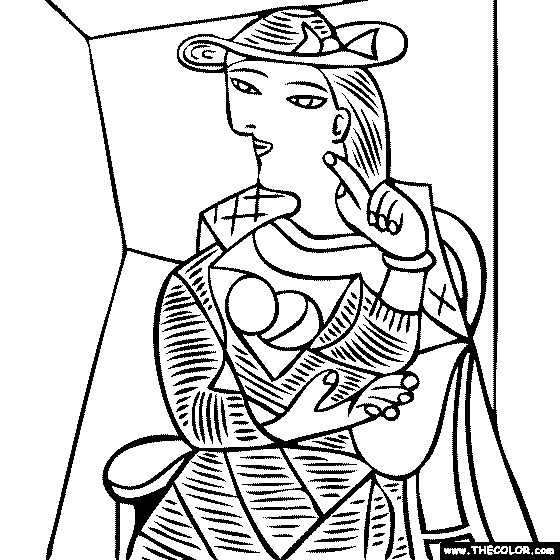 100% free coloring page of Pablo Picasso painting - Seated Woman. You be the master painter! Color this famous painting and many more! You can save your colored pictures, print them and send them to family and friends!