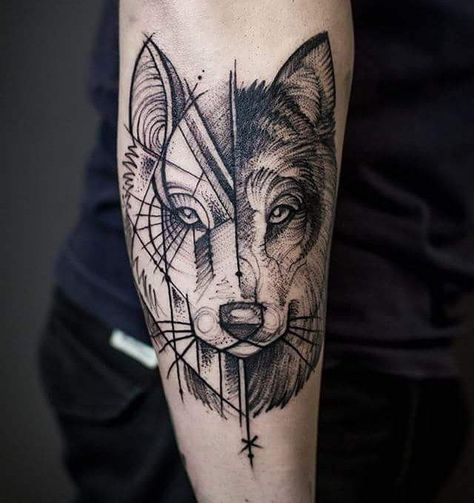 50+ Sacred Geometric Tattoo Designs (2019) Abstract Shape, Style Ideas | Tattoo Ideas 2020 in 2020 | Wolf tattoo design, Dog tattoos, Geometric wolf tattoo