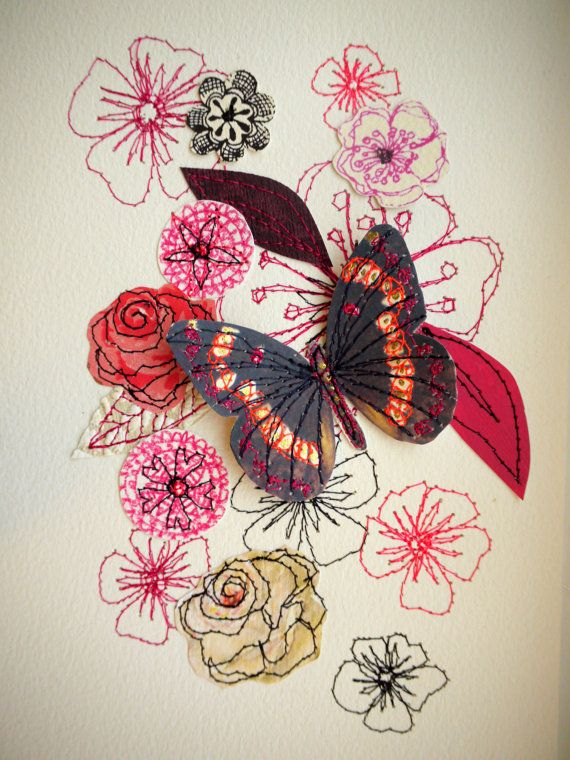 Flutter Admiral- butterfly original art-mixed media-stitched #art #illustration