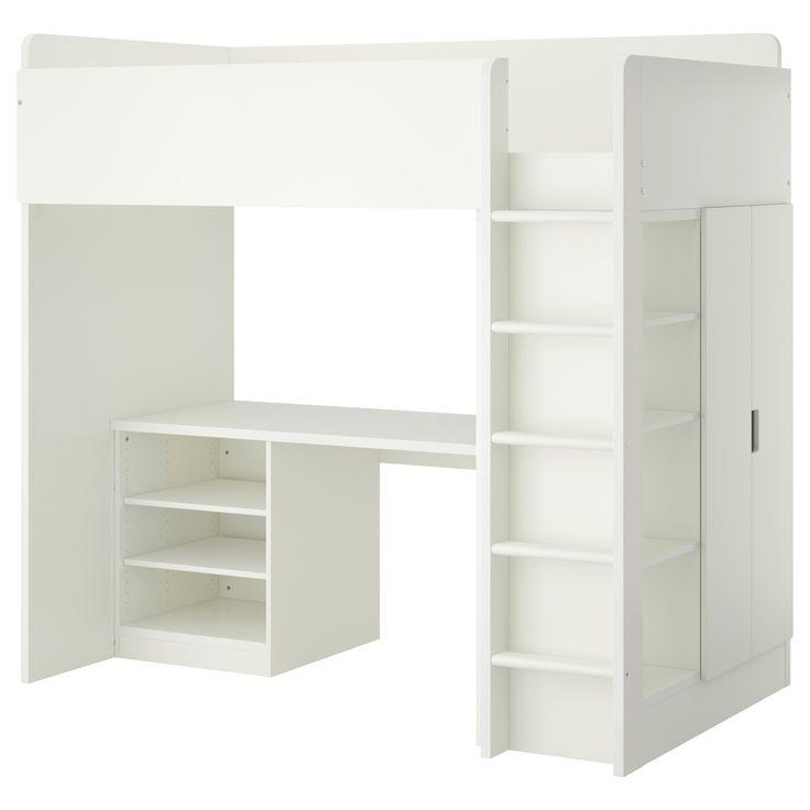 STUVA Loft bed with 2 shelves/2 doors - white - IKEA