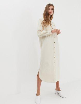 96b7599dacfa DESIGN Denim Midi Shirt Dress in Ecru with Horn buttons in 2019 ...