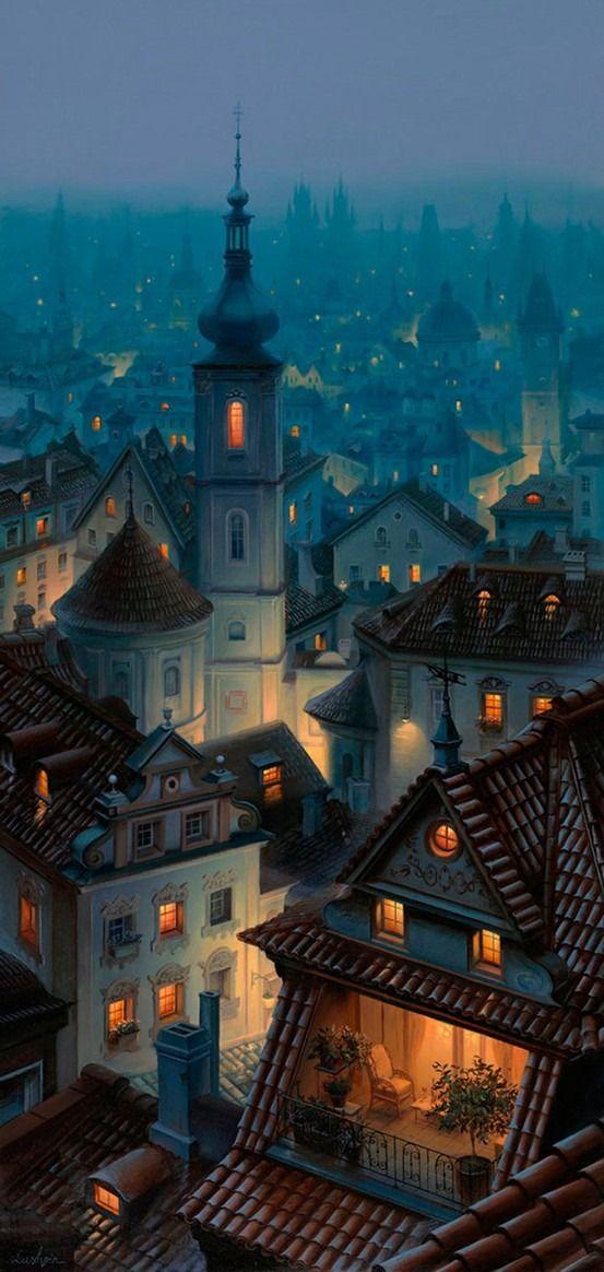 "thepaintedbench: "" Nightfall in Praga, Warsaw """