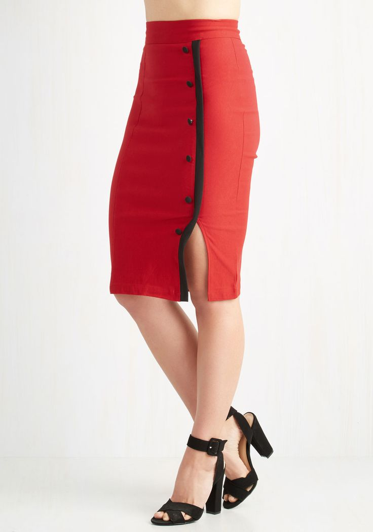 Weekly Write-up Skirt in Scarlet. The reports are in - this red pencil skirt is nothing but good news! #red #modcloth
