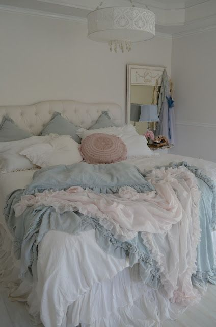 shabby chic powder blue and white ruffles!...love this bedroom: the color scheme inspires me to paint my room and I love that chandelier!!!