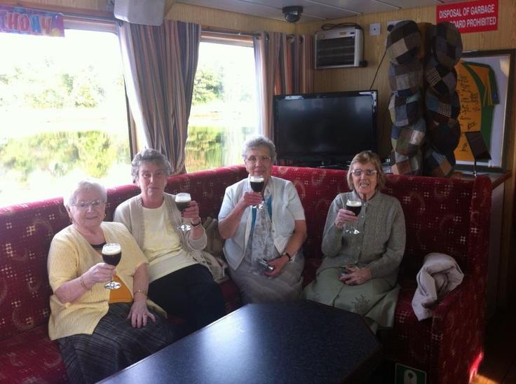 On board The Donegal Bay Waterbus. the girls enjoying their Irish Coffees. Slainte !