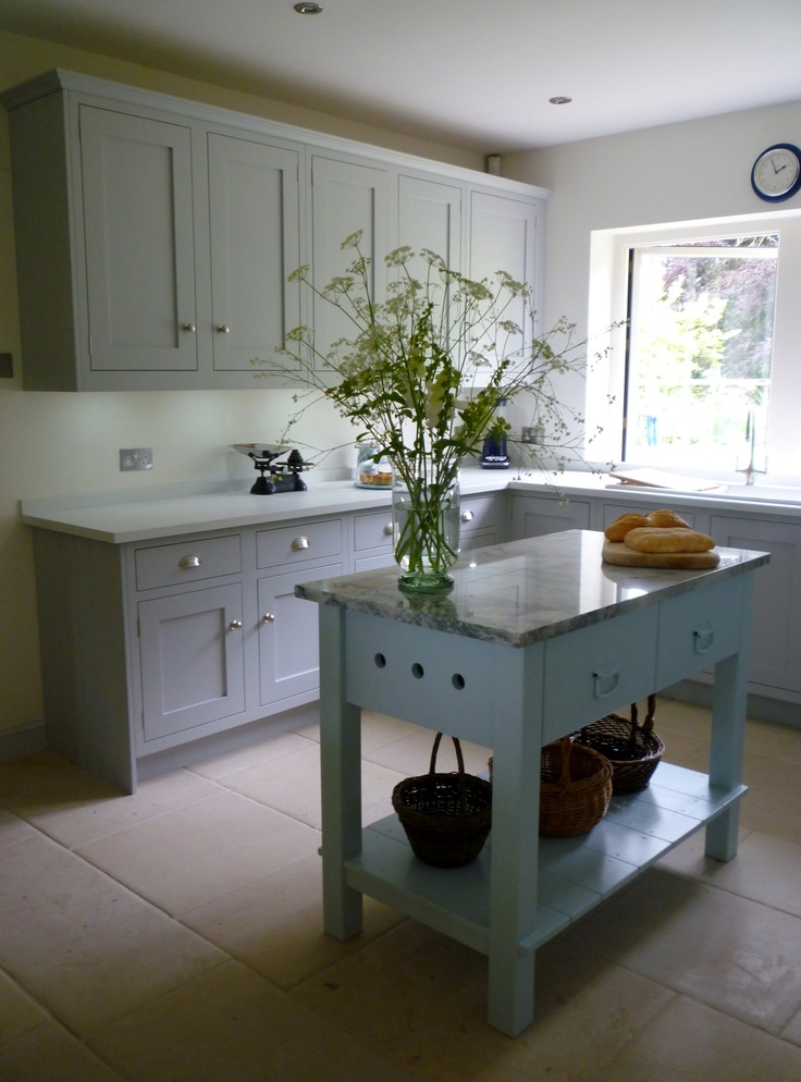 Framed Shaker Kitchen With A Freestanding Marble Topped Two Drawer Worktable