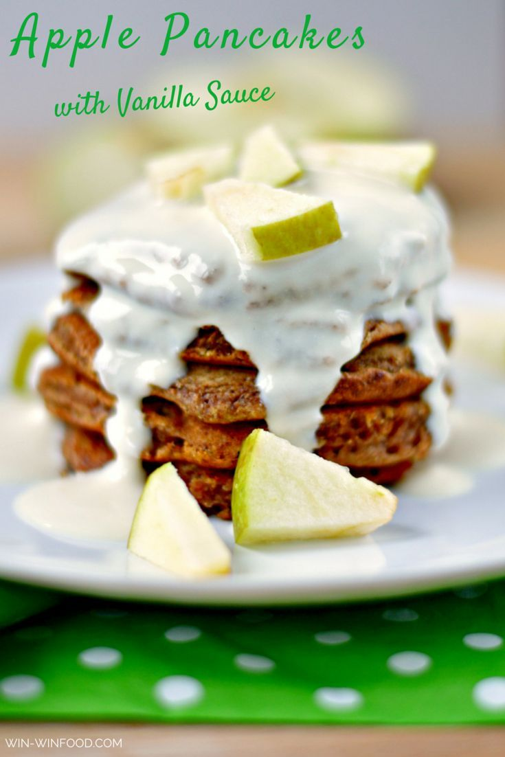 Apple Pancakes with Vanilla Sauce | WIN-WINFOOD.com These apple pancakes are the perfect healthy breakfast for a lazy weekend morning. Filling, bursting with juicy apple pieces and holiday flavors. #vegan #cleaneating #veganfood #healthy #wholegrain