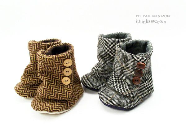 Toddler 3 Button Boots PDF Pattern