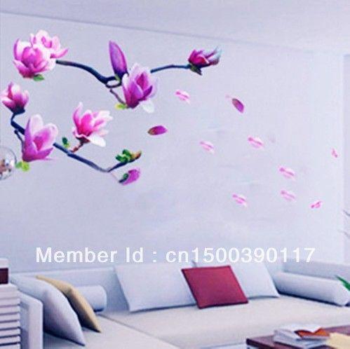 50cm* 70cm roze pruim bloem muurstickers transparante woonkamer decoratie vinyl muursticker stickers schattige kunst