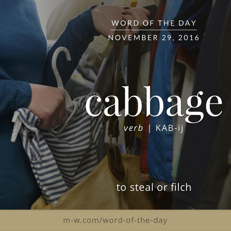 Word of Yesterday: 'cabbage' as a verb. #merriamwebster #dictionary #language