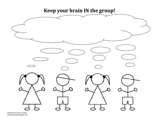 "Use this during your lessons on Whole Body Listening--Focus on ""brain in the group""."
