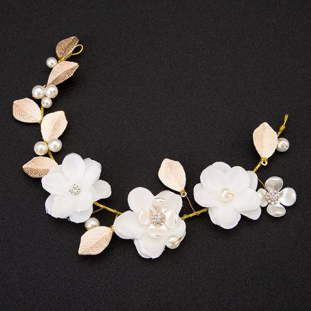 MHS.SUN White Handmade Chiffon flower Bridal hair accessories Luxury Pearl Head piece Rhinestone Wedding hair decoration TN024