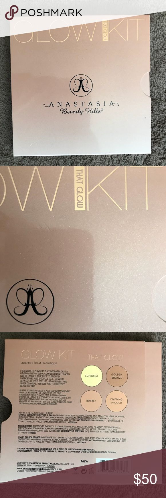 """Glow kit in """"That Glow"""" Palette. (Limited edition) This palette is 100% authentic & in really great condition the pans are still completely full. And some of he colors in the palette have never been used just swatched. ( I no longer have the receipt for this item, it was purchased a while ago and I never thought I would end up selling it) if you have any questions please let me know :) Anastasia Beverly Hills Makeup Luminizer"""