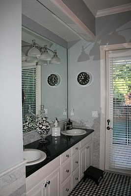 I love my spare bathroom! Along with my 12 pounds of black and white buttons in the apothecary jar! #bathroom #blackandwhite #blackandwhitebathroom #buttons: Bathroom Design, Apothecaries Jars Bathroom, Spare Bathroom, Apothecary Jars Bathroom, Bathroom Blackandwhit, Bathroom Ideas, Blackandwhitebathroom Buttons, Bathroom Redo