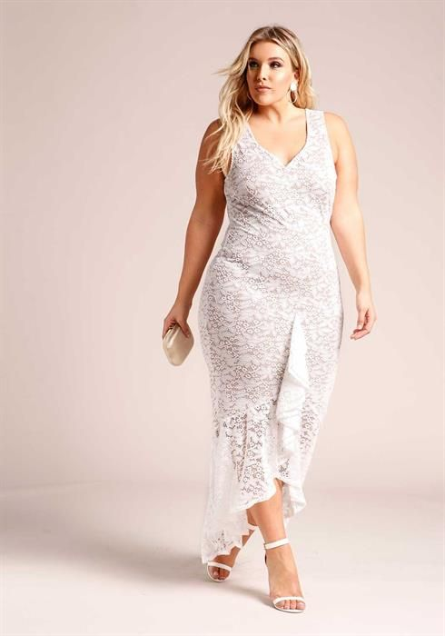 Plus Size Floral Lace Ruffle Hi-Lo Maxi Gown | Curvy fashion in 2019 ...