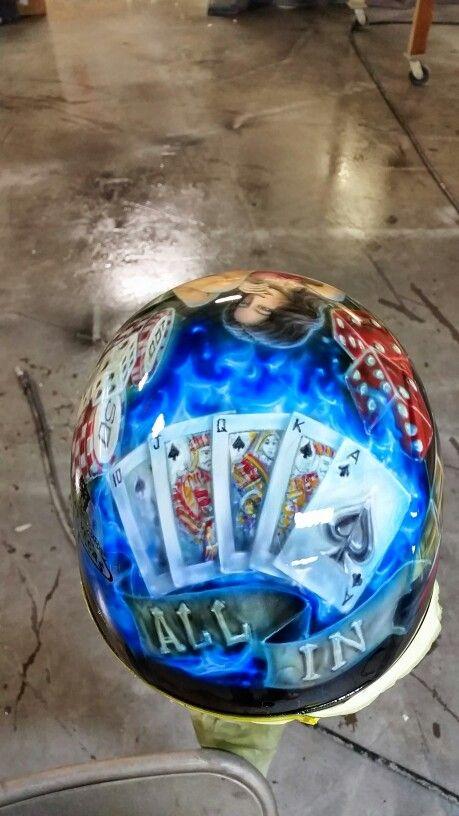 Custom painted half helmet with a Las Vegas theme.