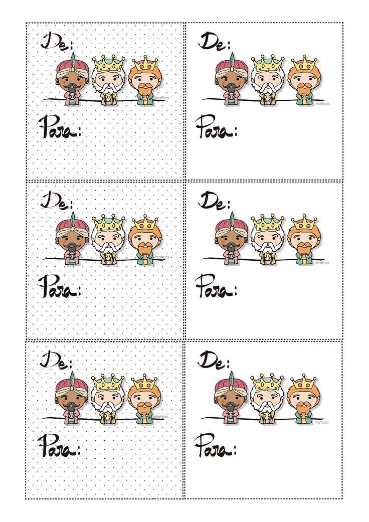 Tarjetas imprimibles gratis para tus regalos de Reyes Magos en Navidad. Rite Rite