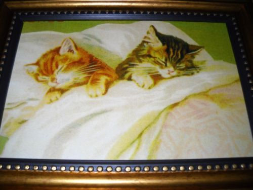 2-CATS-ASLEEP-IN-BED-in-a-SMALL-gold-frame-is-a-victorian-style-art-print