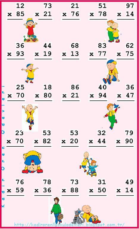 ilkokul ödevleri: 3. sınıf 2 basamaklı sayılarla çarpma