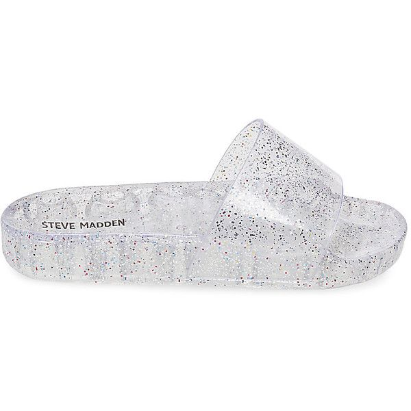 Steve Madden Jealous Sandals ($40) ❤ liked on Polyvore featuring shoes, sandals, clear, clear jelly sandals, clear platform shoes, clear jelly shoes, sparkly shoes and glitter shoes