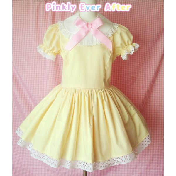 Yooding Dress (Yellow) from Pinkly Ever After ($159) ❤ liked on Polyvore featuring dresses, lolita, pink ruched dress, pink dress, pink peter pan dress, beige lace dress and lace-sleeve dress