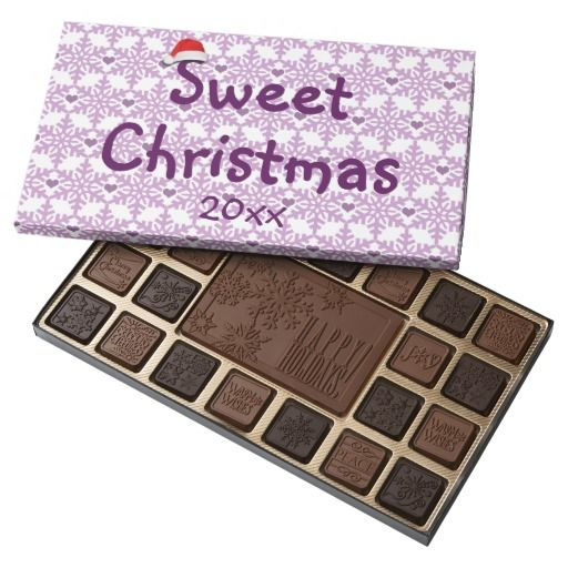Snowflake heart pattern in purple-lavender color, Sweet Christmas 45 Piece Assorted Chocolate Box - Custom date. #fomadesign