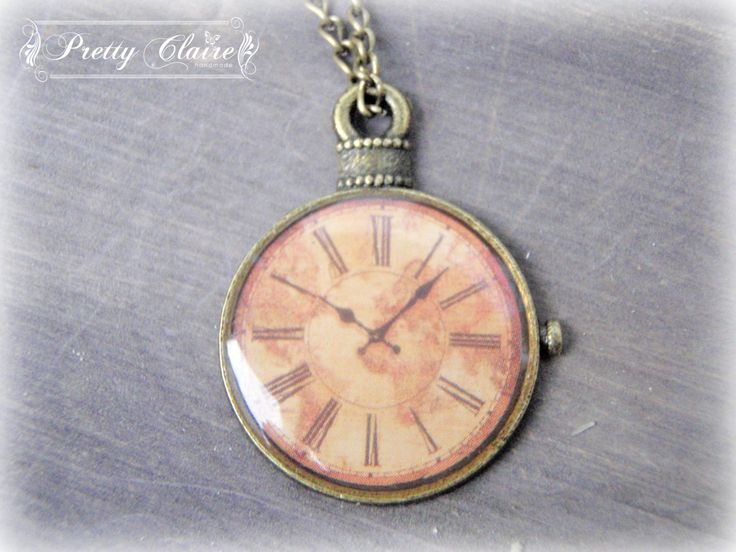 Clock handmade necklace,  clock pendant, vintage pendant, resin jewelry, unique gift, unique jewelry by PrettyClaire on Etsy