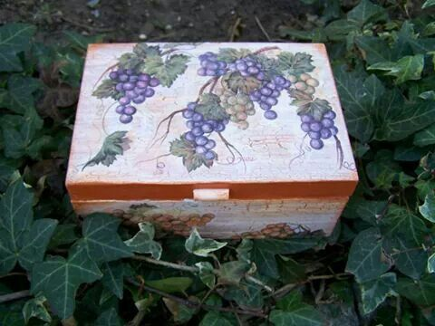 Tea box.Hand painted and decoupaged.20eur