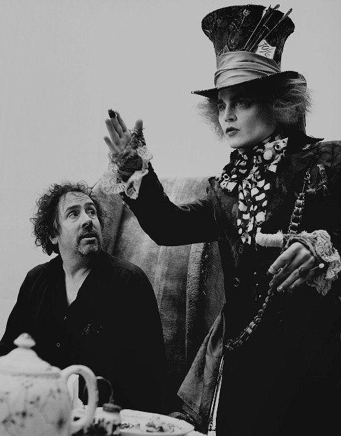 Tim Burton & Johnny Depp at Alice In Wonderland set