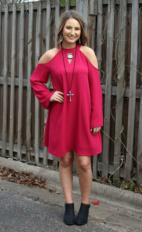 You'll Be Mine Cold Shoulder Shift Dress in Fuchsia – Giddy Up Glamour Boutique