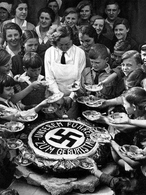 Children celebrating Hitler's birthday