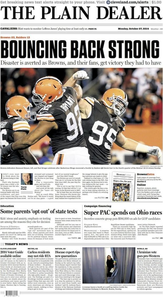 The Plain Dealer's front page for October 27, 2014 #cleveland #browns #newspaper
