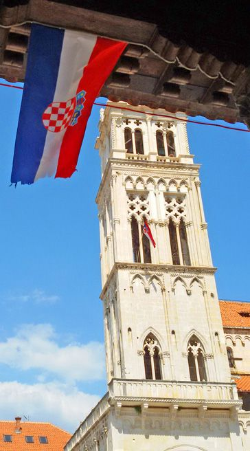 Flag and Tower in Trogir, Croatia: http://bbqboy.net/day-trip-trogir-croatia/  #trogir #croatia