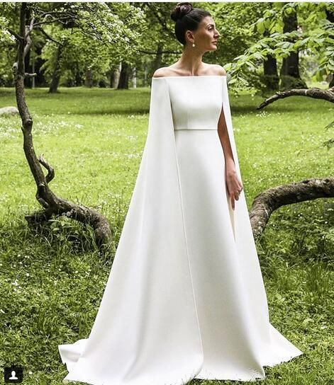 Simple A Line Satin Wedding Dresses Off thSouth African Gire Shoulder with Shawl l Bridal Gowns