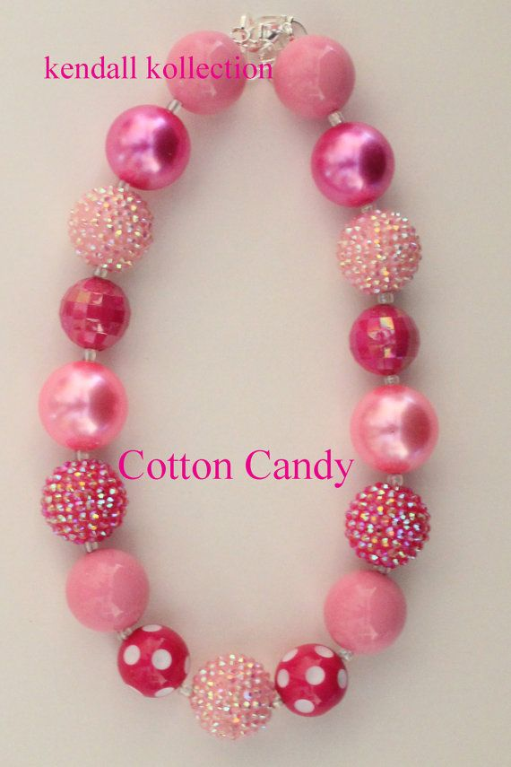 """""""Cotton Candy"""" Chunky Beaded Necklace for women, girls, kids"""