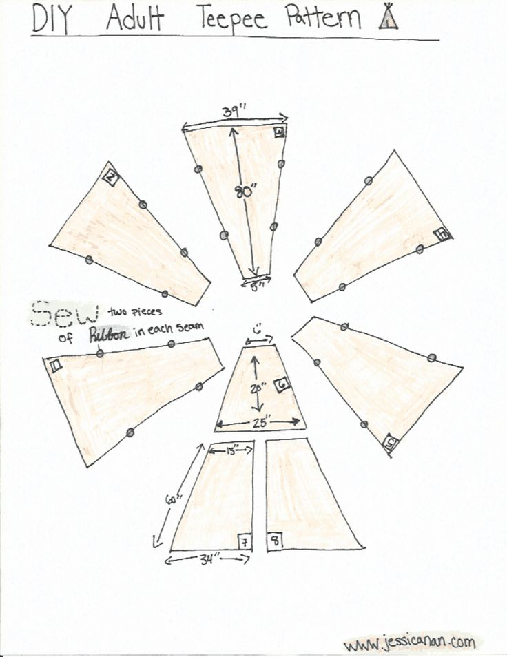 DIY Adult Teepee Pattern