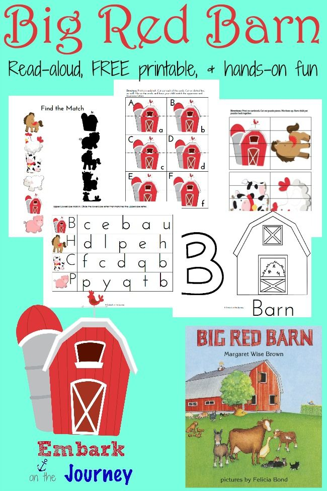 """Hands-on activities and a FREE printable pack for preschoolers and kindergarteners made to go along with Margaret Wise Brown's """"Big Red Barn.""""   embarkonthejourney.com"""