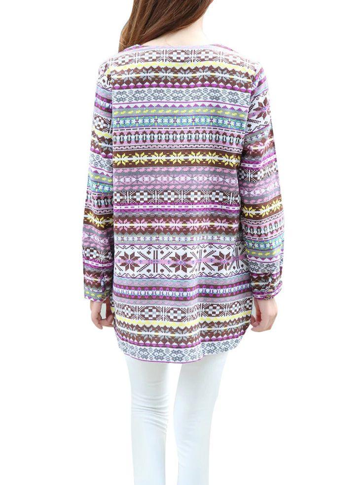 Women Geometric Pattern Printed O-Neck Long Sleeve Split Mini Dress