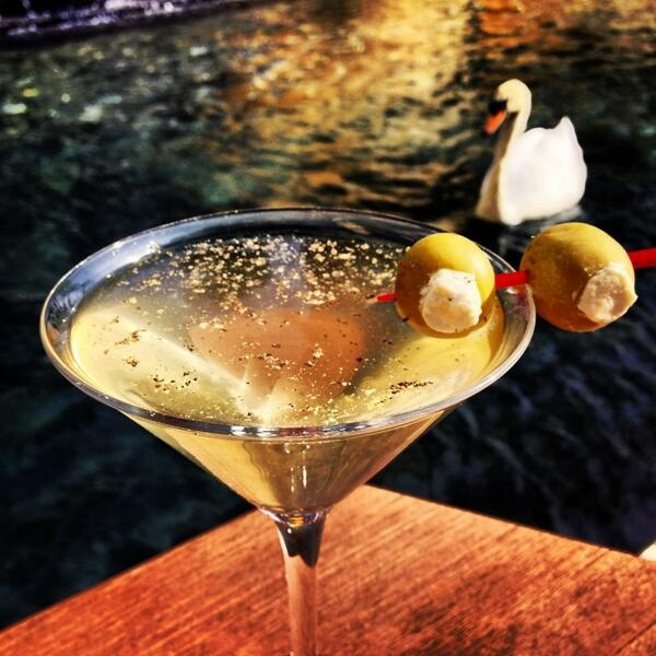 Dirty Martini with blue cheese stuffed olives & cracked ...
