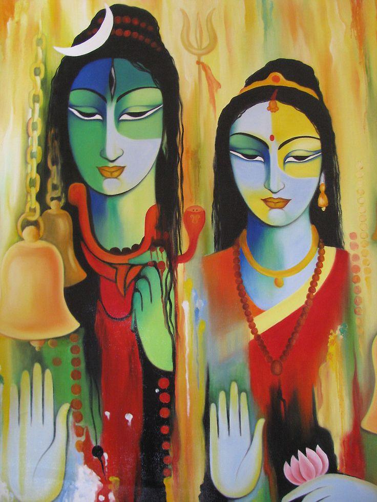 Shiv Parvati Paintings Shiv-parvati by Kirandeep