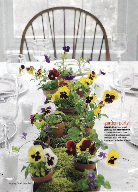 Pansies, pots and moss. Another cute easter or spring tablescape