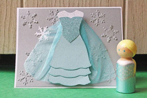 Elsa Princess Party Set - Handmade Card & Peg Doll - Frozen - $12.00 from Hoot & Toot's Loot