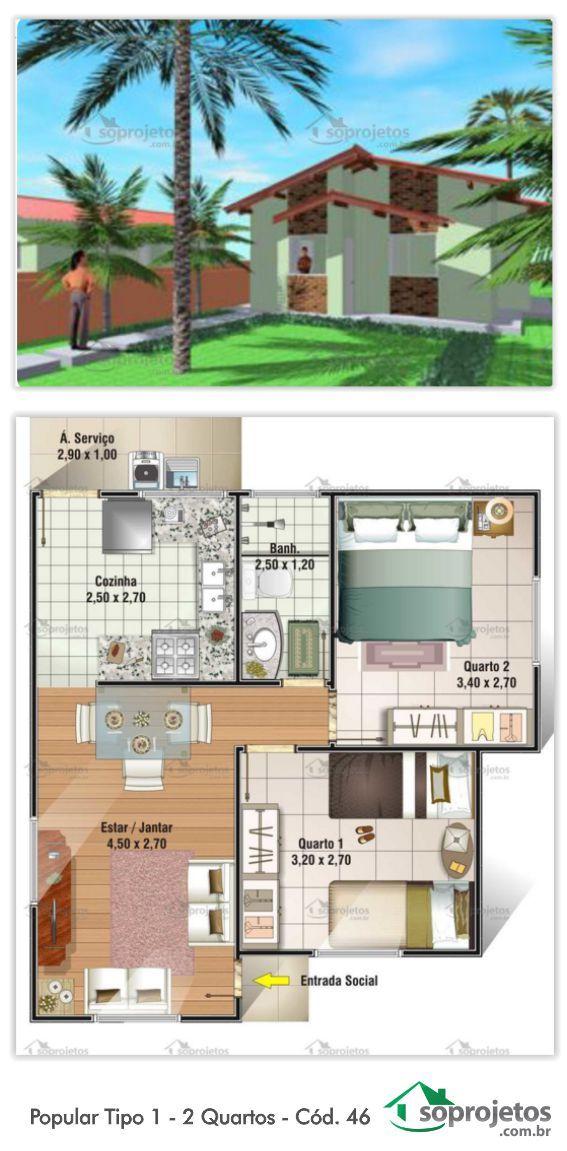 Projeto de casa popular, com 45.17 m2.  Residência compacta de baixo custo. Sala de estar e jantar conjugados. Cozinha, 2 dormitórios e 1 banheiro.