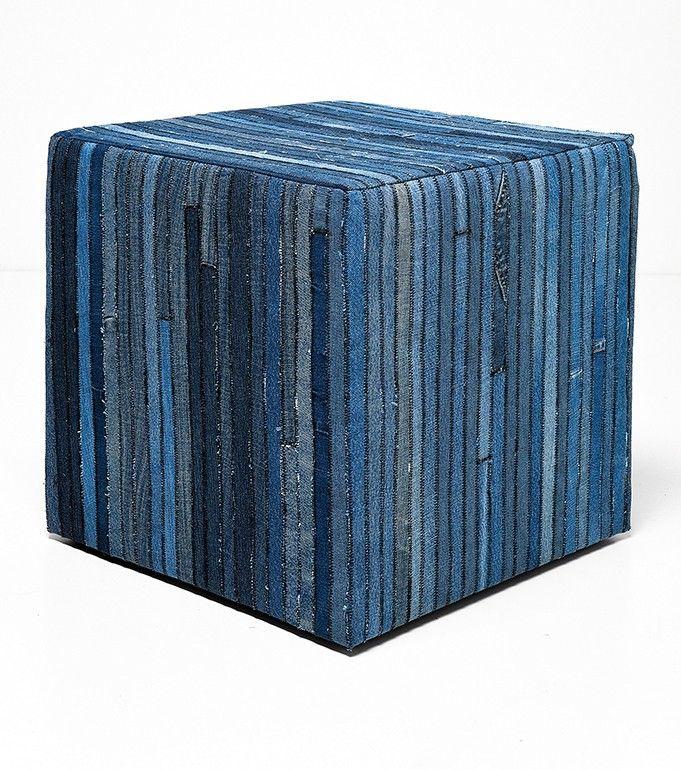 Hocker Denim aus Jeans-Patchwork Baumwolle blau