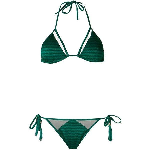 Brigitte triangle bikini set (€96) ❤ liked on Polyvore featuring swimwear, bikinis, green, bikini swim wear, bikini two piece, triangle swimwear, green swimwear and green bikinis swimwear