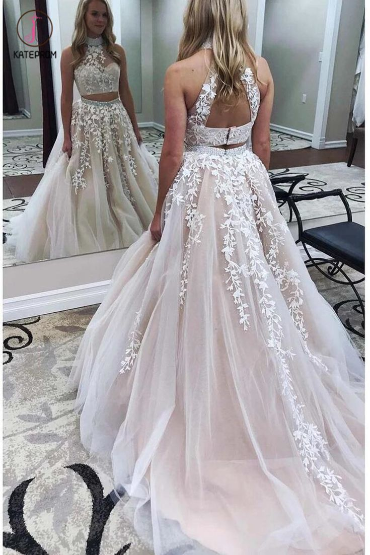 Two Pieces Lace Crop Top High Neck Appliques Tulle Prom Dresses With Beads 2020 Kpp0300 Crop Top Dress Prom Piece Prom Dress Top Prom Dresses [ 1102 x 735 Pixel ]